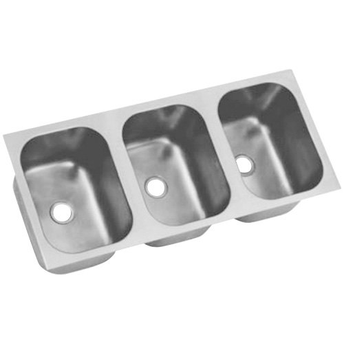 """Eagle Group FDI-16-19-8-3 Three Compartment 21 3/4"""" x 54"""" Seamless Weld In Sink - 8"""" Deep"""