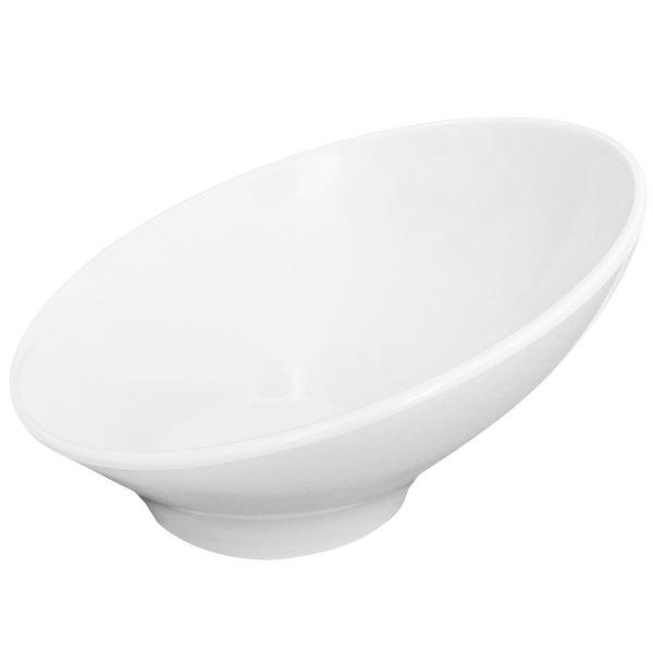 Elite Global Solutions M9 Pappasan White 28 oz. Slanted Melamine Bowl