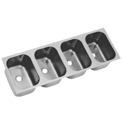 """Eagle Group FDI-24-24-13.5-4 Four Compartment 26"""" x 104"""" Seamless Weld In Sink - 13 1/2"""" Deep"""