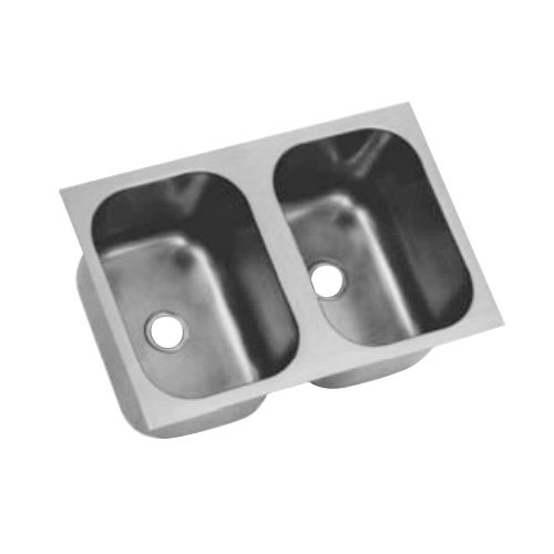 """Eagle Group FDI-14-16-9.5-2 Two Compartment 18"""" x 32"""" Seamless Weld In Sink - 9 1/2"""" Deep"""
