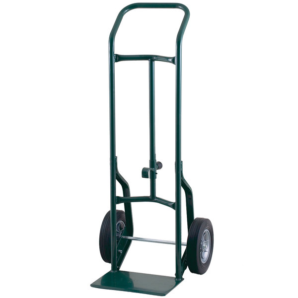 "Harper 52DAK19 Continuous Handle 600 lb. Steel Hand / Drum Truck with Chime Hook and 10"" x 3 1/2"" Pneumatic Wheels"