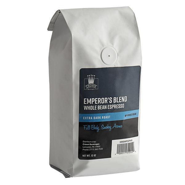 Crown Beverages 12 oz. Emperor's Blend Whole Bean Espresso Main Image 1