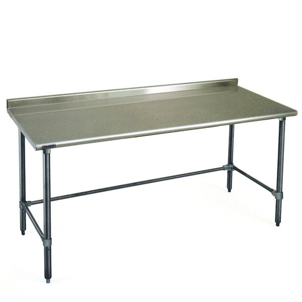 "Eagle Group UT3084GTEB 30"" x 84"" Open Base Stainless Steel Commercial Work Table with 1 1/2"" Backsplash"