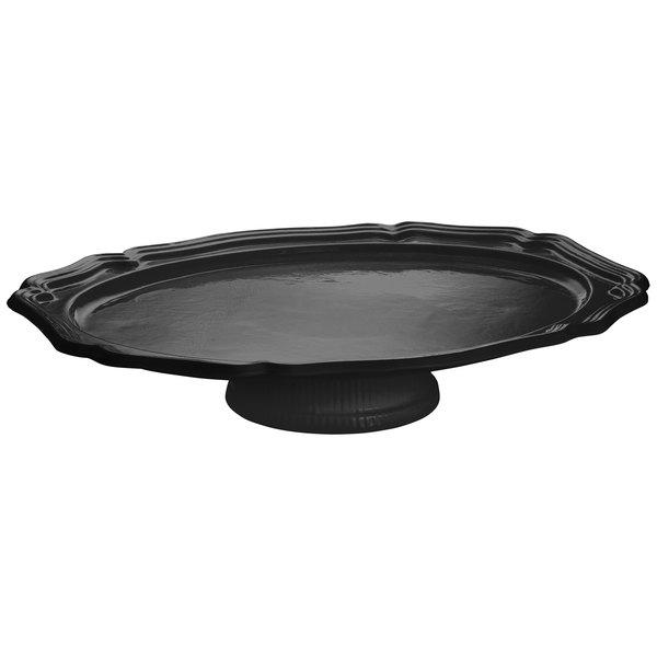 Tablecraft CW60201630BK Black Cast Aluminum Queen Anne Oval Platter with Pedestal