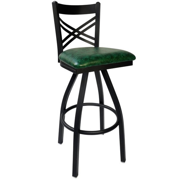 "BFM Seating 2130SGNV-SB Akrin Metal Barstool with 2"" Green Vinyl Swivel Seat Main Image 1"