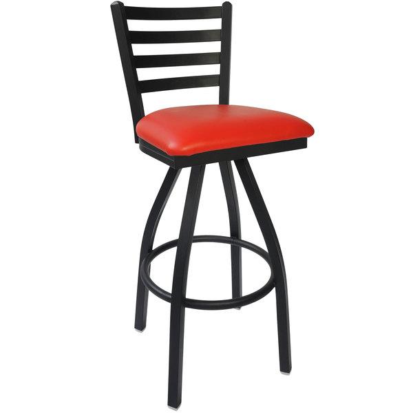 "BFM Seating 2160SRDV-SB Lima Sand Black Steel Bar Height Chair with 2"" Red Vinyl Swivel Seat"