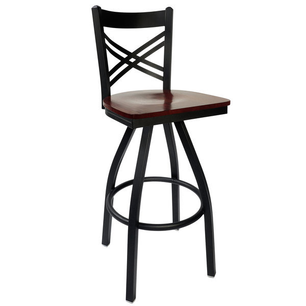 BFM Seating 2130SMHW-SB Akrin Metal Barstool with Mahogany Wood Swivel Seat