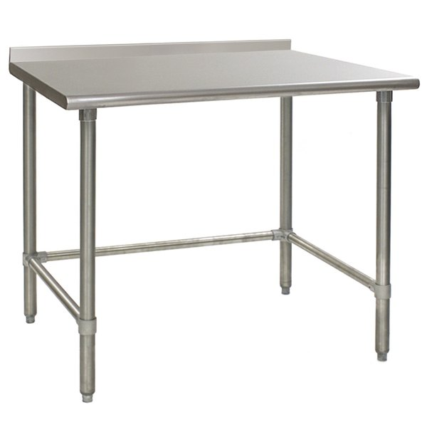 """Eagle Group UT3648GTEB 36"""" x 48"""" Open Base Stainless Steel Commercial Work Table with 1 1/2"""" Backsplash"""