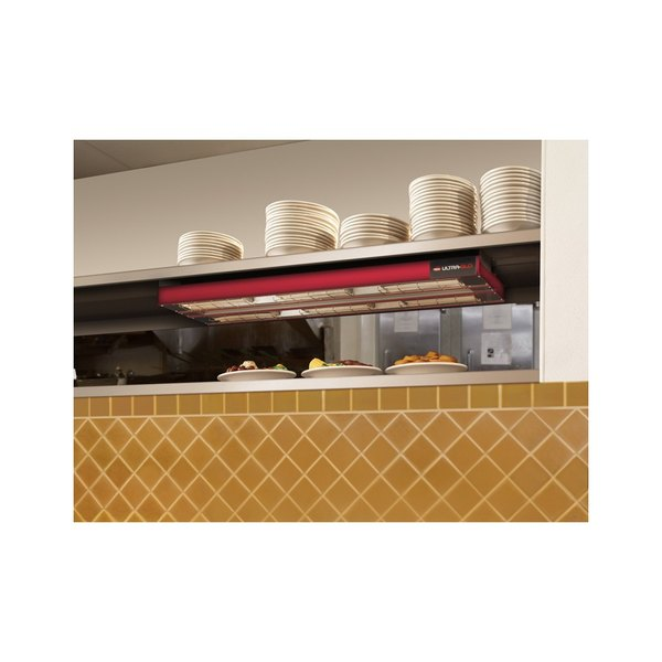 """Hatco UGA-24D Ultra-Glo 24"""" x 22"""" Dual Ceramic Infrared Strip Food Warmer with Attached Controls - 208V, 1350W"""