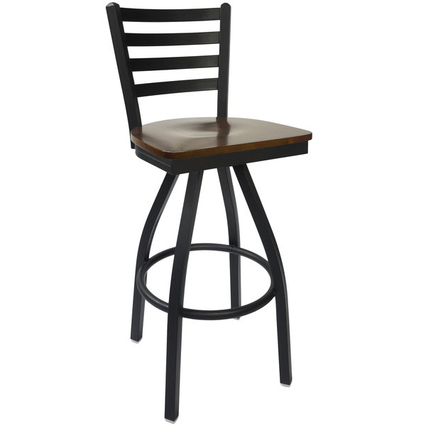 BFM Seating 2160SWAW-SB Lima Sand Black Steel Bar Height Chair with Walnut Wood Swivel Seat