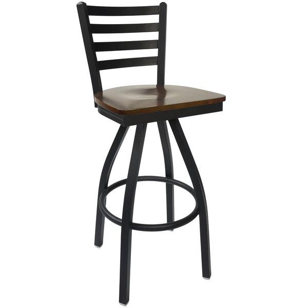 BFM Seating 2160SWAW-SB Lima Sand Black Steel Bar Height Chair with Walnut Wood Swivel Seat