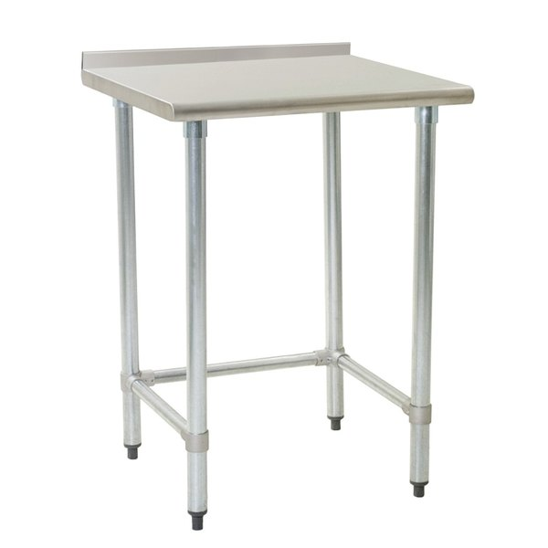 "Eagle Group UT2430GTEB 24"" x 30"" Open Base Stainless Steel Commercial Work Table with 1 1/2"" Backsplash"