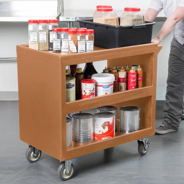 "Cambro BC235157 Coffee Beige Three Shelf Service Cart - 37 1/4"" x 21 1/2"" x 34 5/4"" Main Image 3"