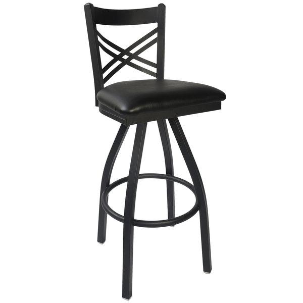 "BFM Seating 2130SBLV-SB Akrin Metal Barstool with 2"" Black Vinyl Swivel Seat"