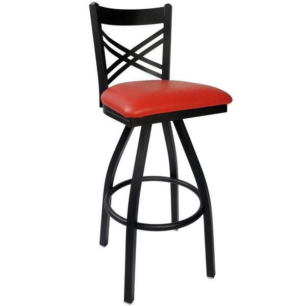 "BFM Seating 2130SRDV-SB Akrin Metal Barstool with 2"" Red Vinyl Swivel Seat Main Image 1"