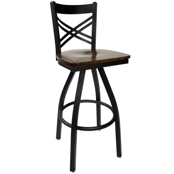 BFM Seating 2130SWAW-SB Akrin Metal Barstool with Walnut Wood Swivel Seat