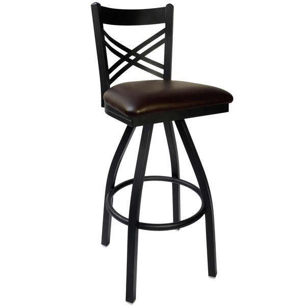 "BFM Seating 2130SDBV-SB Akrin Metal Barstool with 2"" Dark Brown Vinyl Swivel Seat"