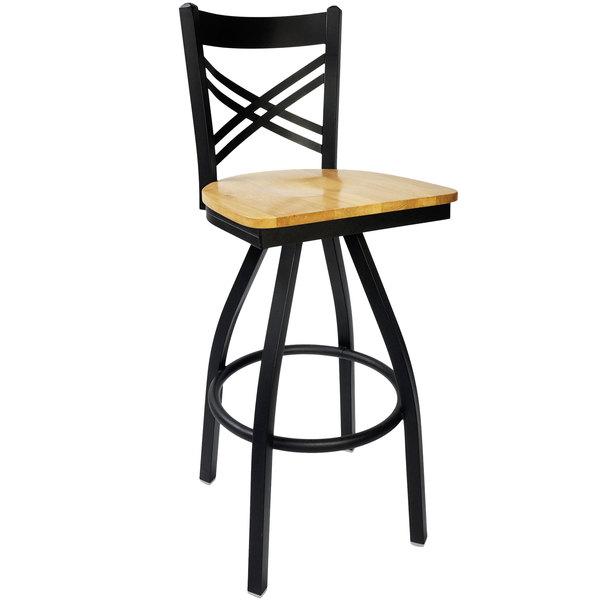 BFM Seating 2130SNTW-SB Akrin Metal Barstool with Natural Wood Swivel Seat