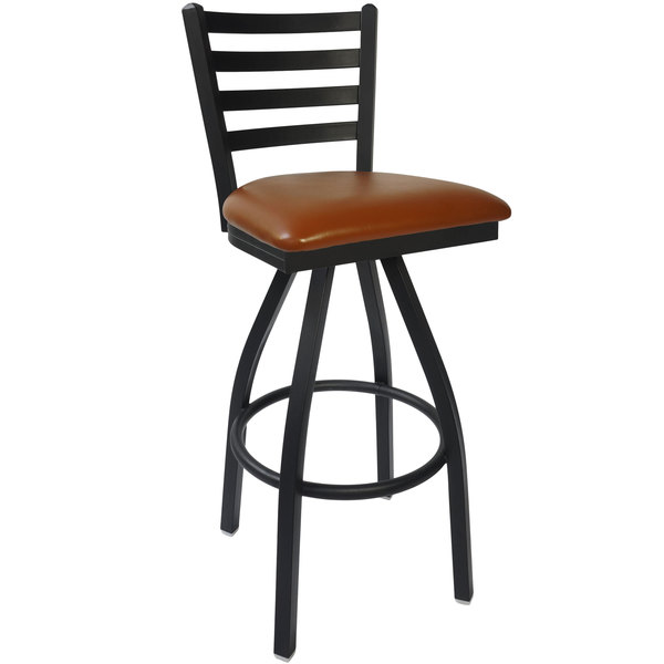 "BFM Seating 2160SLBV-SB Lima Sand Black Steel Bar Height Chair with 2"" Light Brown Vinyl Swivel Seat"