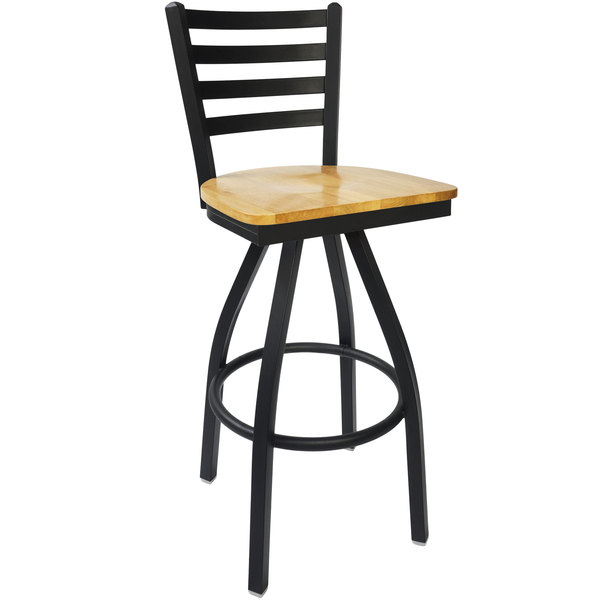 BFM Seating 2160SNTW-SB Lima Sand Black Steel Bar Height Chair with Natural Wood Swivel Seat