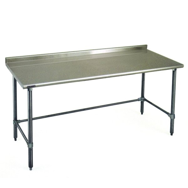 """Eagle Group UT3672GTEB 36"""" x 72"""" Open Base Stainless Steel Commercial Work Table with 1 1/2"""" Backsplash"""