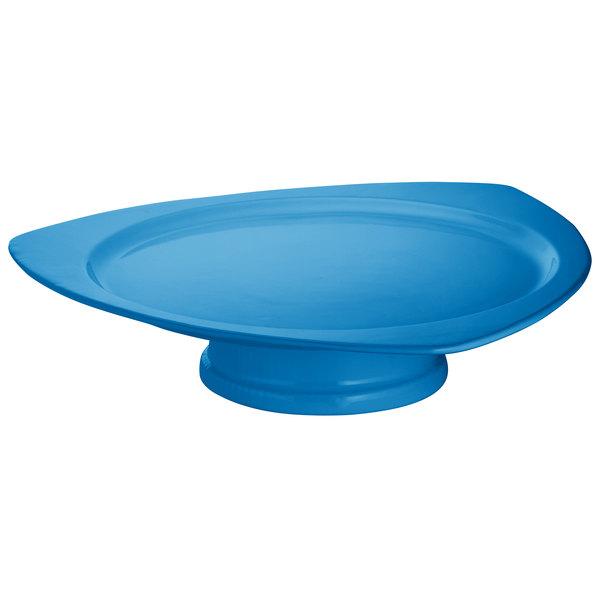 Tablecraft CW34163SBL Sky Blue Cast Aluminum Triangle Plate with Pedestal