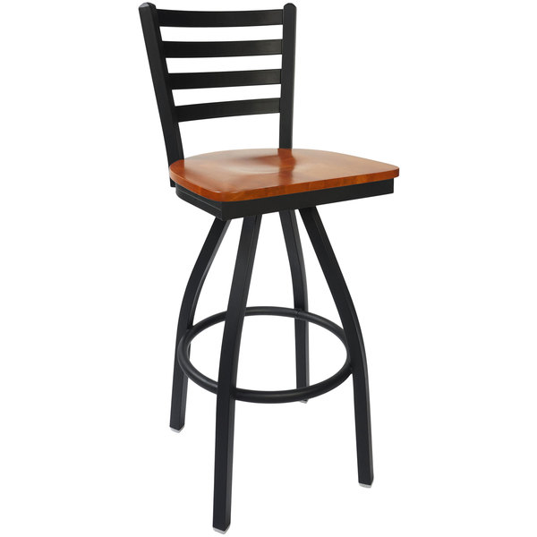 BFM Seating 2160SCHW-SB Lima Sand Black Steel Bar Height Chair with Cherry Wood Swivel Seat