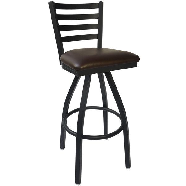 "BFM Seating 2160SDBV-SB Lima Sand Black Steel Bar Height Chair with 2"" Dark Brown Vinyl Swivel Seat Main Image 1"