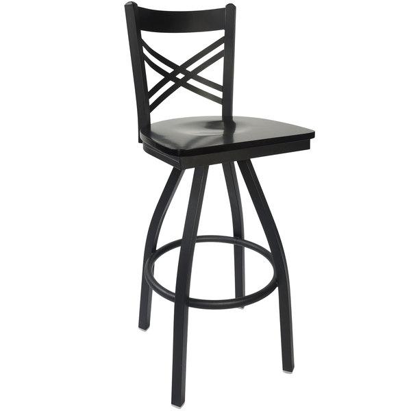 Pleasing Bfm Seating 2130Sblw Sb Akrin Metal Barstool With Black Wood Swivel Seat Spiritservingveterans Wood Chair Design Ideas Spiritservingveteransorg