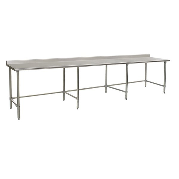 "Eagle Group UT36132STEB 36"" x 132"" Open Base Stainless Steel Commercial Work Table with 1 1/2"" Backsplash"
