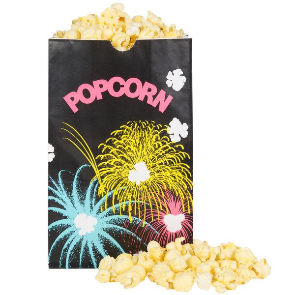 """Bagcraft Packaging 300449 5 1/2"""" x 3 1/4"""" x 8 5/8"""" 85 oz. Funburst Design Popcorn Bag - 500/Case"""