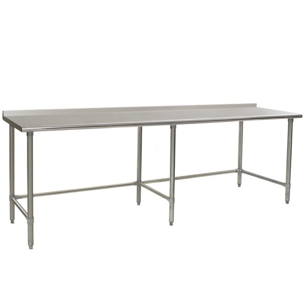 """Eagle Group UT3696STB 36"""" x 96"""" Open Base Stainless Steel Commercial Work Table with 1 1/2"""" Backsplash Main Image 1"""
