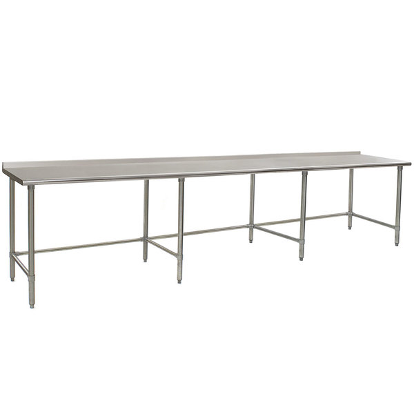 """Eagle Group UT30132STB 30"""" x 132"""" Open Base Stainless Steel Commercial Work Table with 1 1/2"""" Backsplash Main Image 1"""