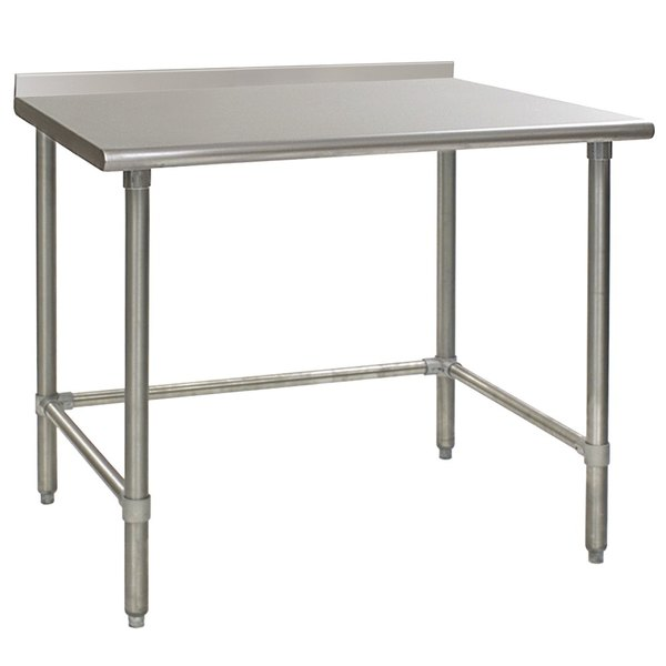"Eagle Group UT3048STEB 30"" x 48"" Open Base Stainless Steel Commercial Work Table with 1 1/2"" Backsplash Main Image 1"