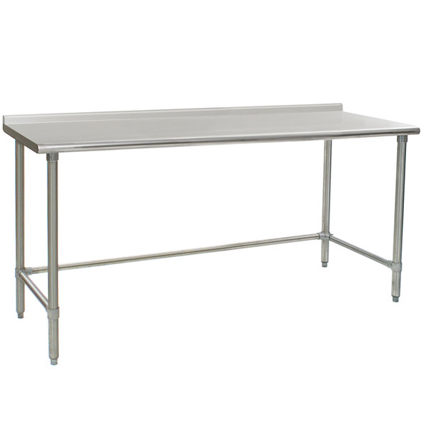 """Eagle Group UT3672GTE 36"""" x 72"""" Open Base Stainless Steel Commercial Work Table with 1 1/2"""" Backsplash"""