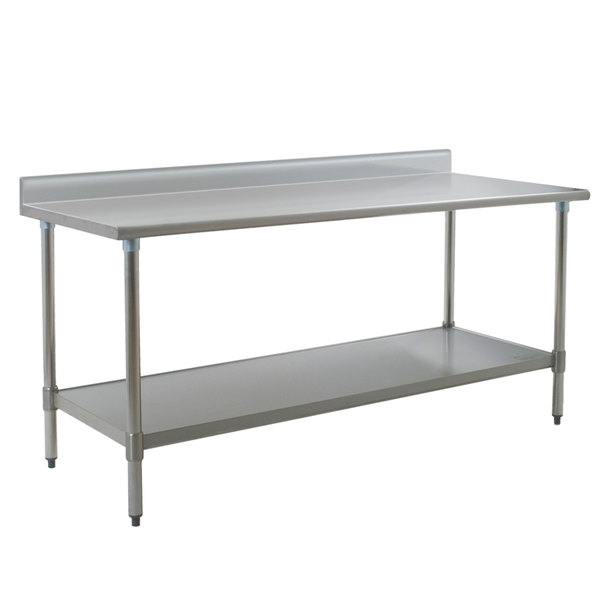 """Eagle Group T3084E-BS 30"""" x 84"""" Stainless Steel Work Table with Galvanized Undershelf and 4 1/2"""" Backsplash"""
