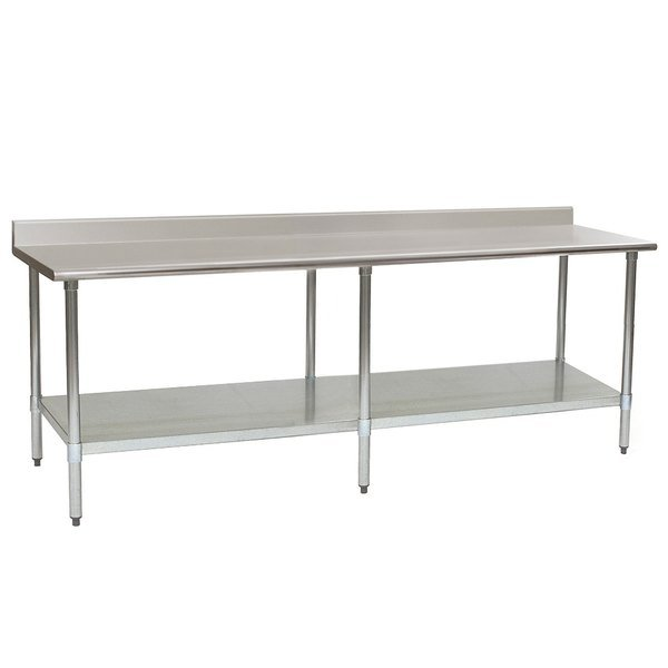 """Eagle Group T24120EB-BS 24"""" x 120"""" Stainless Steel Work Table with Galvanized Undershelf and 4 1/2"""" Backsplash"""