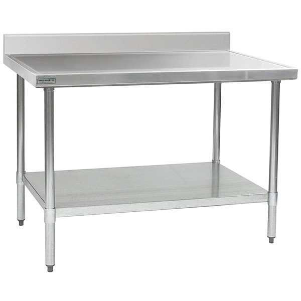 "Eagle Group T2448EM-BS 24"" x 48"" Stainless Steel Work Table with Galvanized Undershelf and 4 1/2"" Backsplash"