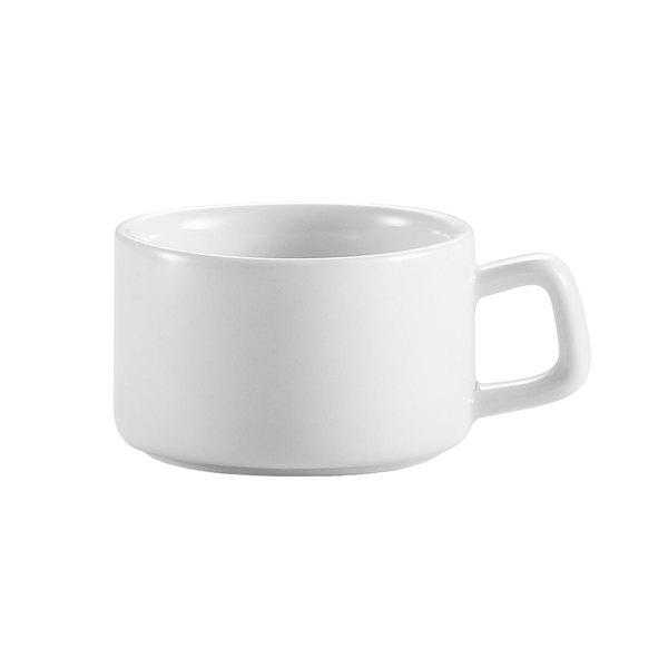 CAC PRM-3-P Clinton 2.5 oz. Bright White Rolled Edge Porcelain A.D. Cup - 36/Case