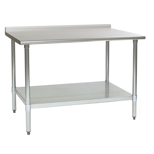 """Eagle Group T3060EB-BS 30"""" x 60"""" Stainless Steel Work Table with Galvanized Undershelf and 4 1/2"""" Backsplash"""