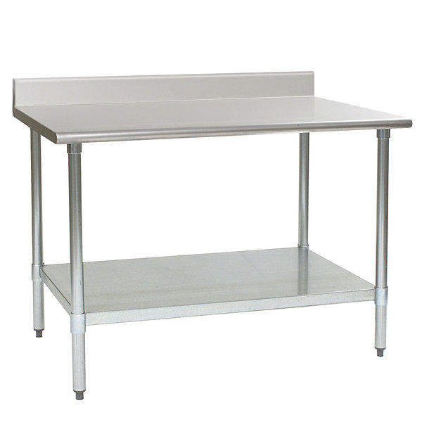 """Eagle Group T3660EB-BS 36"""" x 60"""" Stainless Steel Work Table with Galvanized Undershelf and 4 1/2"""" Backsplash"""