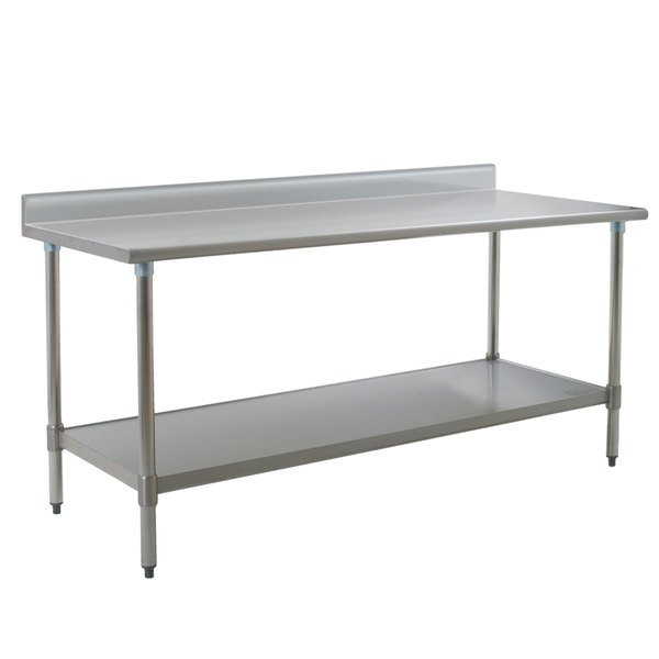 """Eagle Group T3072E-BS 30"""" x 72"""" Stainless Steel Work Table with Galvanized Undershelf and 4 1/2"""" Backsplash"""