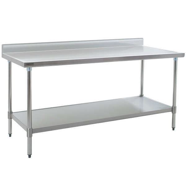 """Eagle Group T3684EM-BS 36"""" x 84"""" Stainless Steel Work Table with Galvanized Undershelf and 4 1/2"""" Backsplash"""