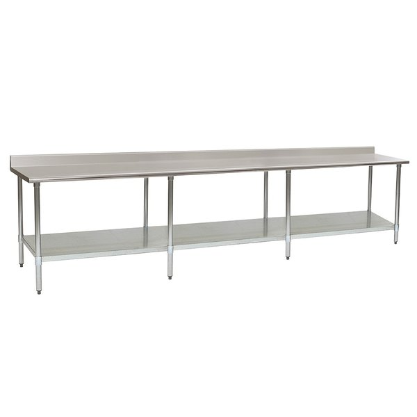"""Eagle Group T24132EB-BS 24"""" x 132"""" Stainless Steel Work Table with Galvanized Undershelf and 4 1/2"""" Backsplash"""