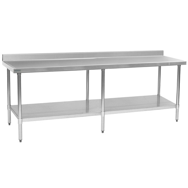 """Eagle Group T30108EM-BS 30"""" x 108"""" Stainless Steel Work Table with Galvanized Undershelf and 4 1/2"""" Backsplash"""