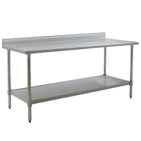 """Eagle Group T3684B-BS 36"""" x 84"""" Stainless Steel Work Table with Galvanized Undershelf and 4 1/2"""" Backsplash"""