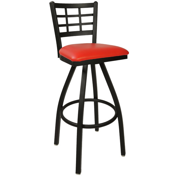 "BFM Seating 2163SRDV-SB Marietta Sand Black Steel Bar Height Chair with 2"" Red Vinyl Swivel Seat"