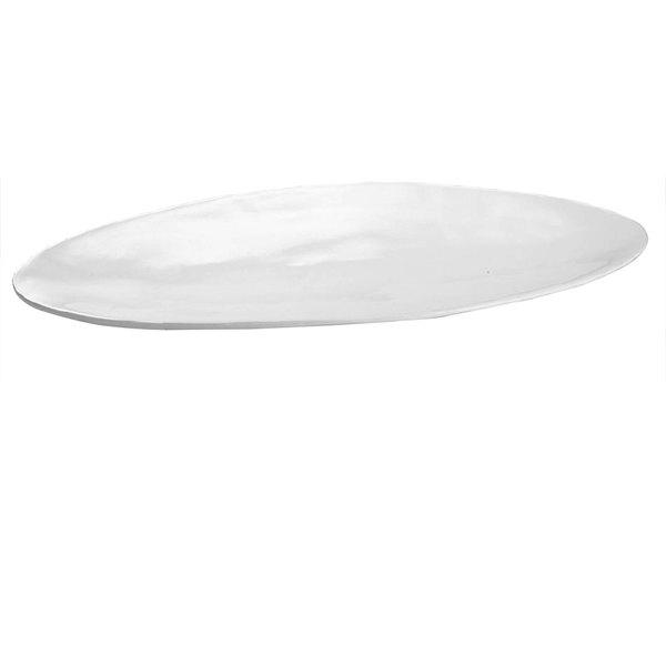 Tablecraft CW11068W 26 inch x 12 inch White Cast Aluminum Oblong Platter