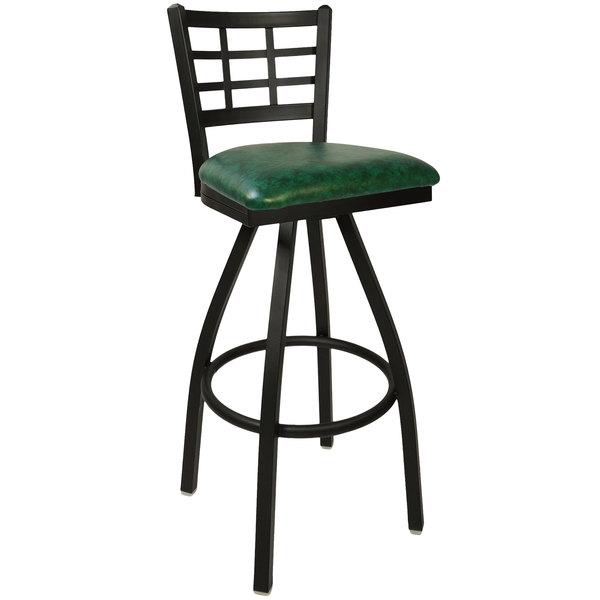 "BFM Seating 2163SGNV-SB Marietta Sand Black Steel Bar Height Chair with 2"" Green Vinyl Swivel Seat"