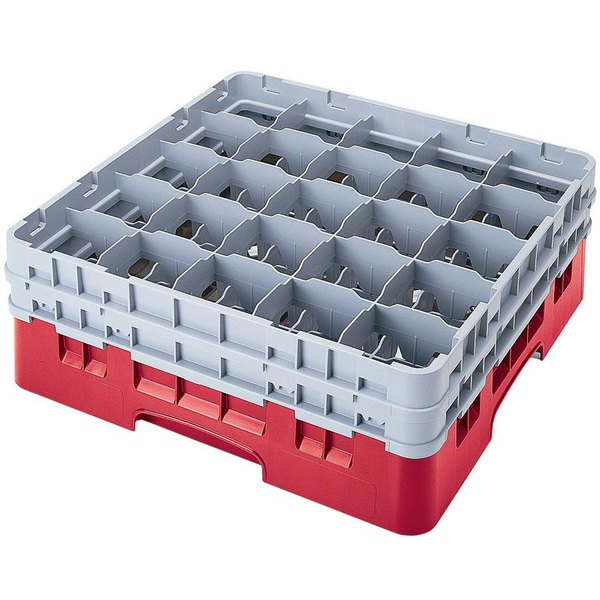 "Cambro 25S1114163 Camrack 11 3/4"" High Customizable Red 25 Compartment Glass Rack"